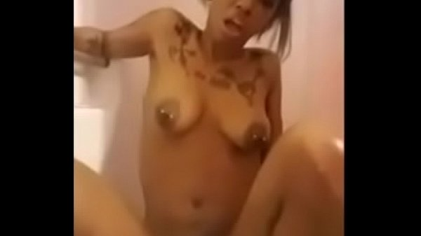 Ride dildo, Black girl, In bathroom, Big dildo